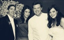 Black and white photo of bride with Tyler Florence