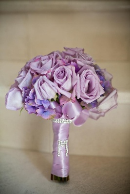 Purple roses and flowers with rhinestone M
