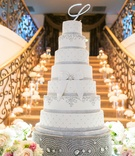 Large wedding cake on Swarovski crystal cake base