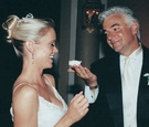 john o'hurley and wife at their wedding