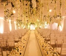 Winter wonderland wedding ceremony indoors