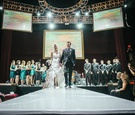 Bride and groom on catwalk at Belasco Theater