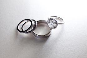 Black diamond three-sided wedding band and ring