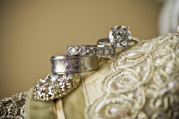 Textured band, diamond band, and solitaire ring