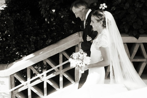 Black and white photo of father of the bride