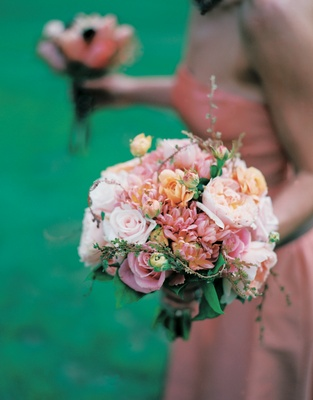 Bridesmaid bouquet with pink rose, garden rose, and peony flowers