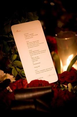 Wedding reception menu card for Nicholas Barnett wedding