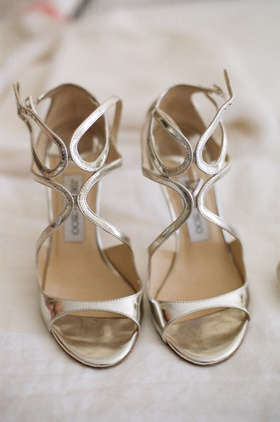Jimmy Choo silver strappy sandal shoes