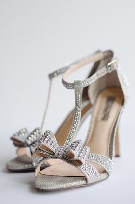 Bridal shoes with bow and crystal studs