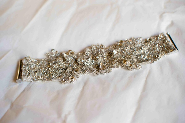 Wedding day crystal bracelet with silver clasps