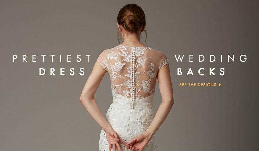 Wedding dress illusion back with embroidery and button closure