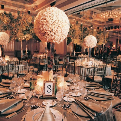 Wedding reception decorations and tables