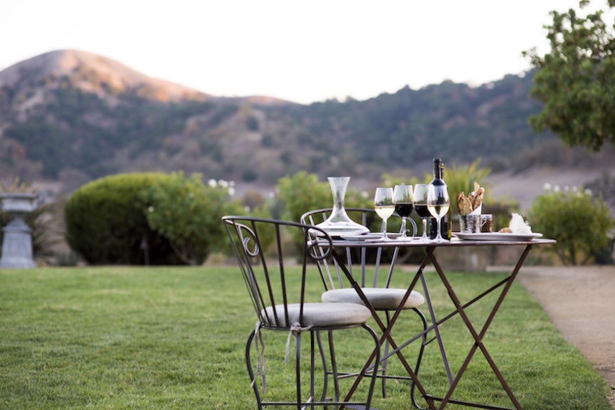 Bistro table with wine flight at Clos LaChance winery