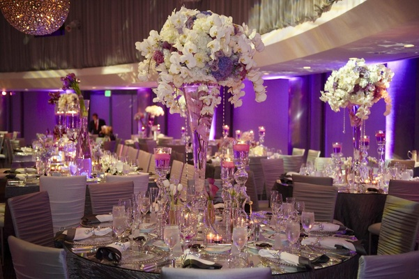 glam modern wedding with purple d cor in los angeles california inside weddings. Black Bedroom Furniture Sets. Home Design Ideas