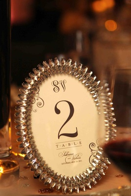 Table numbers in oval frames with sparkling border