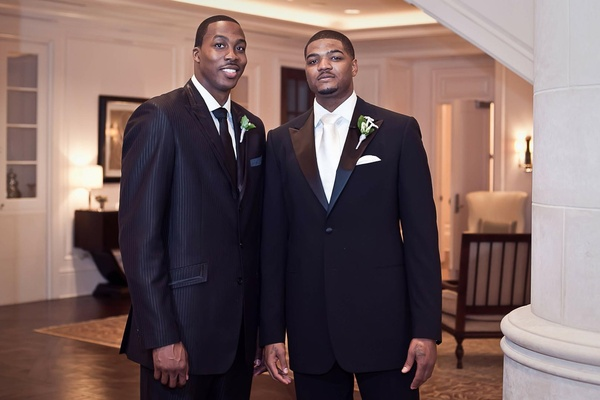 NBA star best man and groom in tuxedos