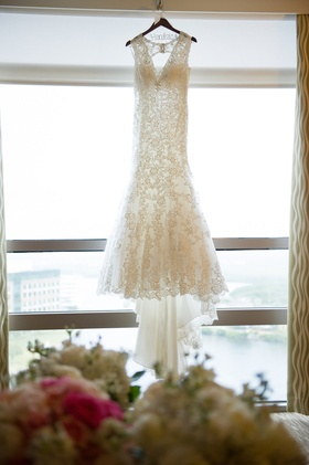 Fit-and-flare Allure wedding dress with keyhole back
