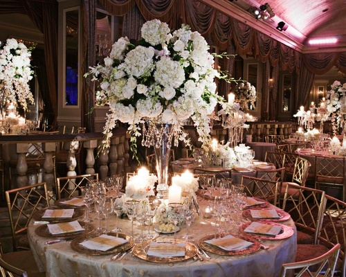 Flower Centerpiece Nyc : Glamorous all white fall wedding in new york city inside