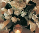 Green and white wedding flower decorations