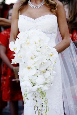 bridal bouquet of white dendrobium and cymbidium orchids