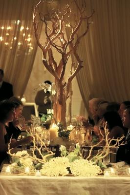 Manzanita branches and coral centerpiece