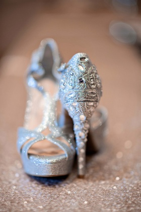 Beaded wedding shoes with peep-toe and straps