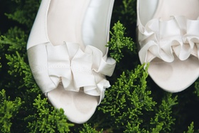 Kelly & Katie open-toed wedding shoes with ruffle detail