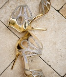 Jimmy Choo wedding shoes with gold heel