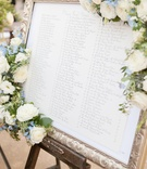 Table assignments in gold frame adorned with flowers