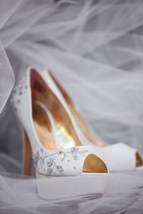 White peep toe wedding shoes with crystal details