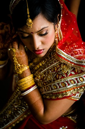 Bride wearing traditional sari and bangles