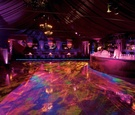 Purple and fuchsia lighting on bar and tent
