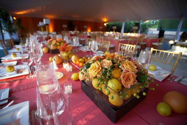 Wedding reception flower and fruit arrangement