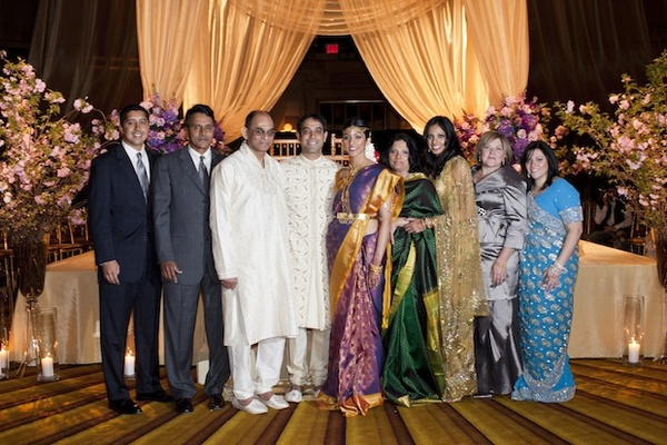 Actress Reshma Shetty, groom, and loved ones at her Indian Hindu wedding