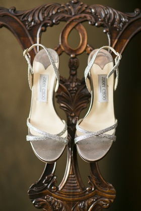 Silver Jimmy Choo sandals with glitter straps