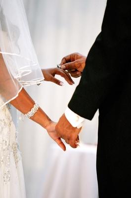 African American bride and groom wedding bands