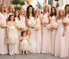Bride with flower girls and bridesmaids in light pink gowns