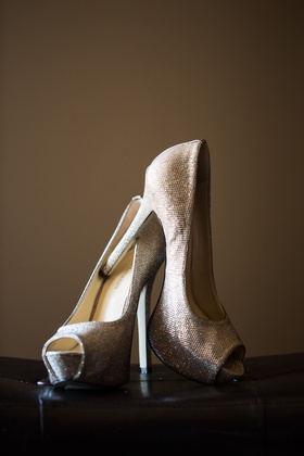 Peep toe wedding heels with silver and gold color