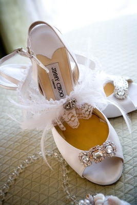 Feather and crystal-embellished garter and heels