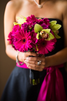 Bridesmaid bouquet with pink Gerber daisy, pink rose, and green orhid