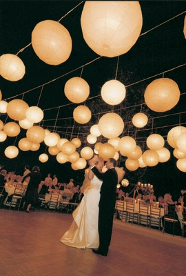 First dance and lanterns above reception
