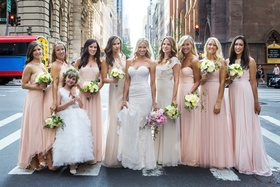 Model bride with bridesmaids and flower girl