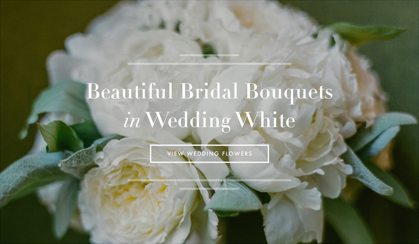 White garden rose and peony bridal bouquet