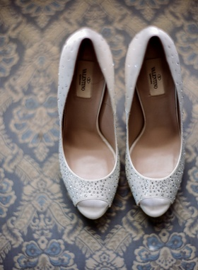 White peep-toe Valentino bridal shoes with crystals
