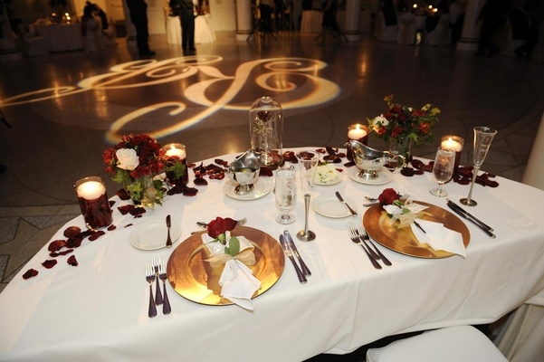 Beauty and the Beast sweetheart table next to dance floor