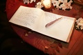 Intricate engraved pen on guestbook table
