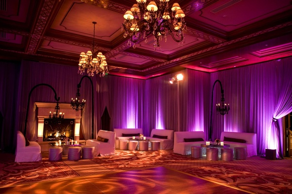 Dance floor and lounge seating at fuchsia after party