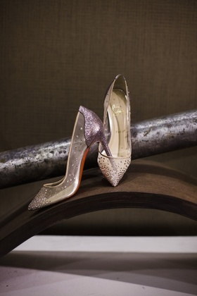 Illusion Louboutin pumps with crystals and silver glitter for wedding