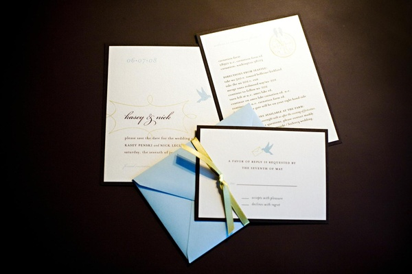 invitation suite with blue envelope and white and blue cards