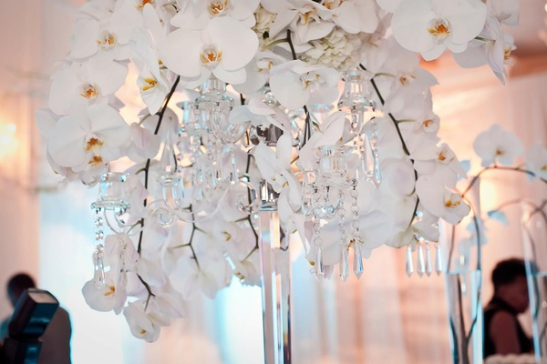 White orchids on crystal candelabrum